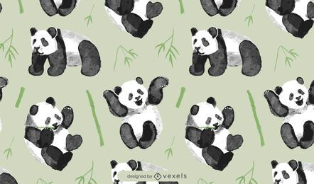 Watercolor panda bear pattern design