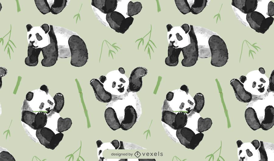 Watercolor panda bear pattern design