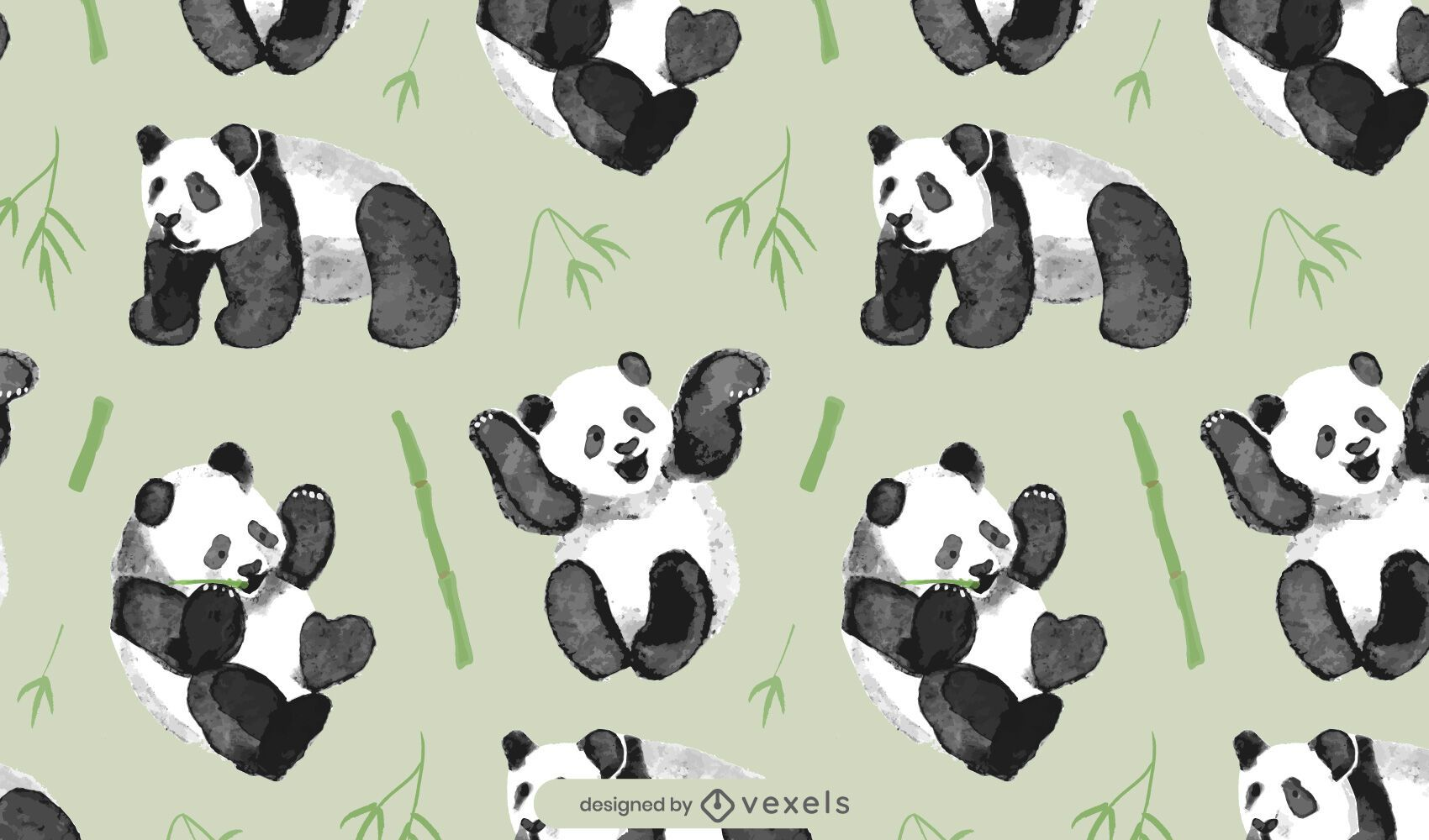 Dise?o de patr?n de oso panda en acuarela