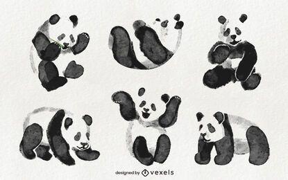 Diseño de set de panda acuarela