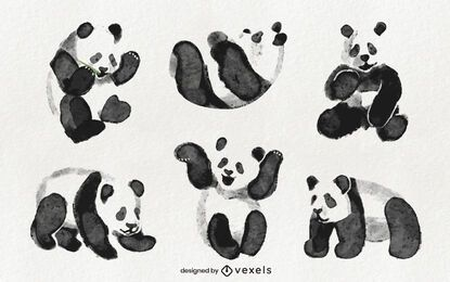 Watercolor panda set design