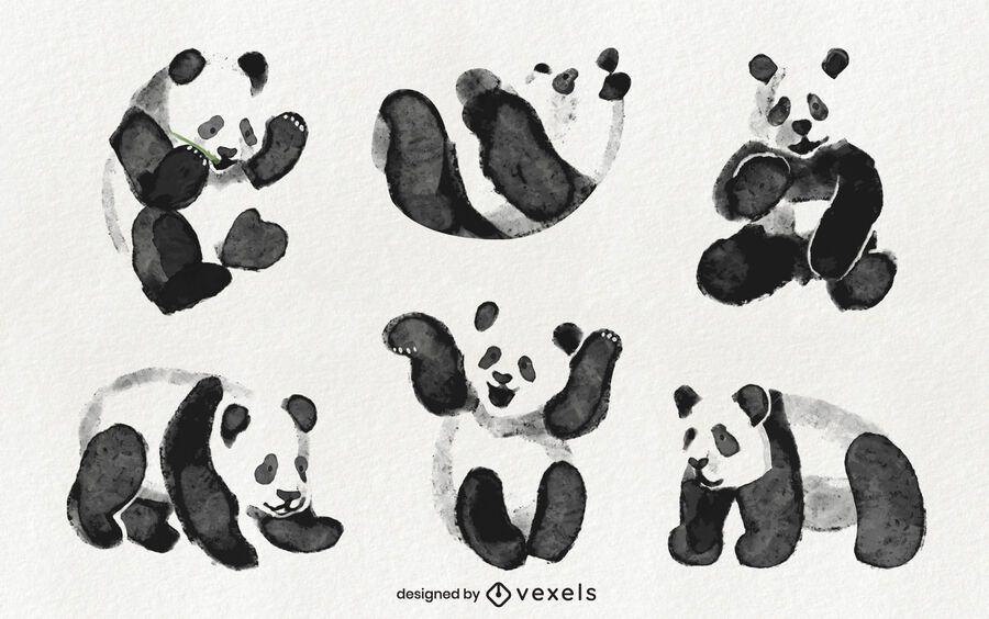 Watercolor panda set design