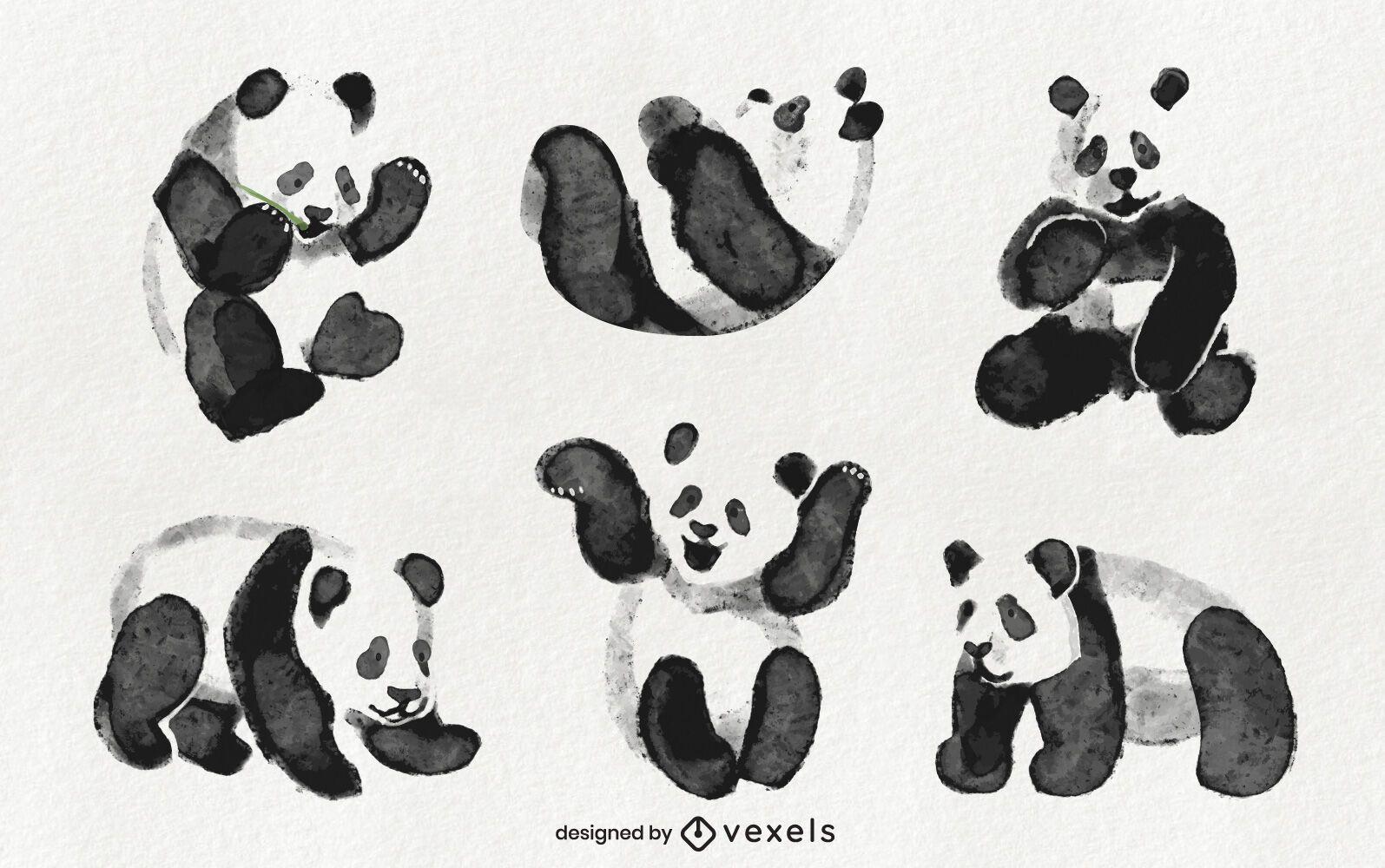 Dise?o de set de panda acuarela