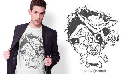 Design de camiseta com sombra monstruosa