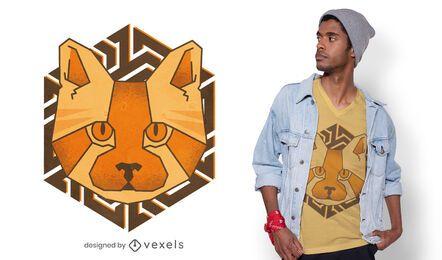 Diseño de camiseta de gato poligonal