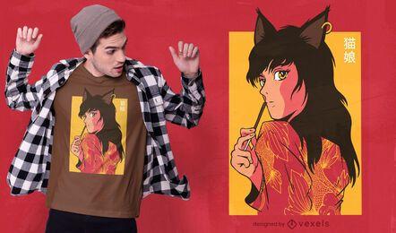 Design de t-shirt de anime para gatas