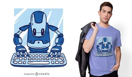 Robot typing t-shirt design