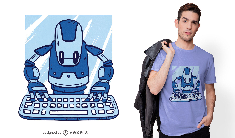 Diseño de camiseta robot escribiendo