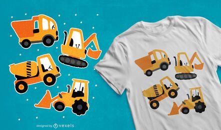 Diseño de camiseta de máquinas de construcción.