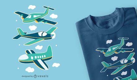 Diseño de camiseta de aviones