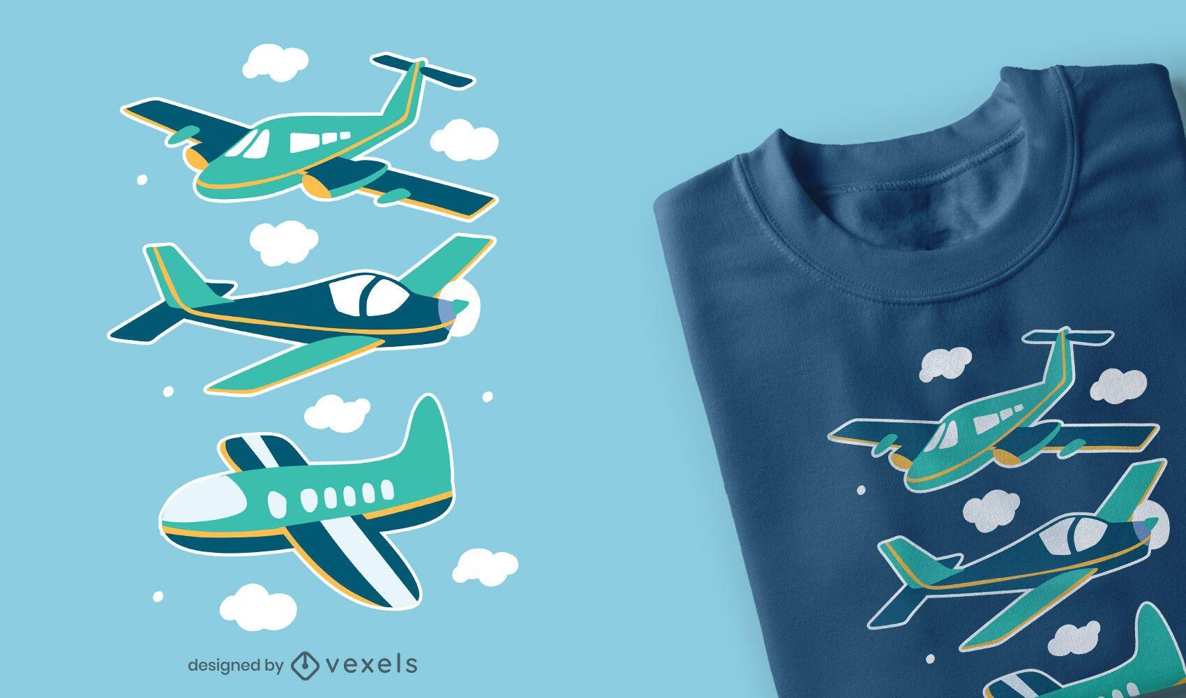 Dise?o de camiseta de aviones