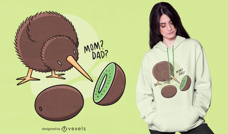 Design engraçado de t-shirt de pássaro kiwi