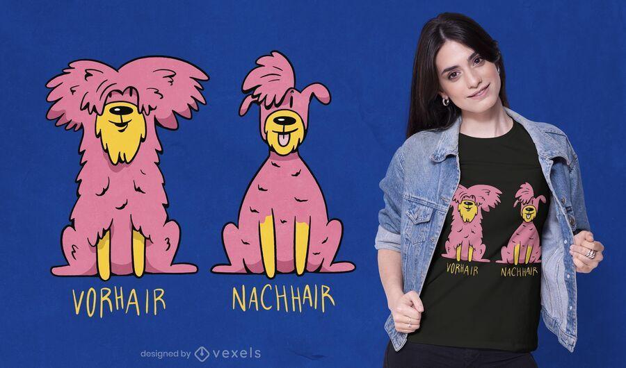 Diseño de camiseta de perro de corte de pelo.