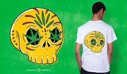 Diseño de camiseta Skull Weed