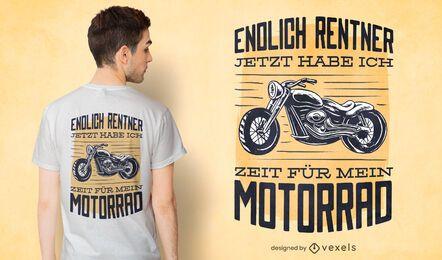 Diseño de camiseta de motocicleta con cita alemana.