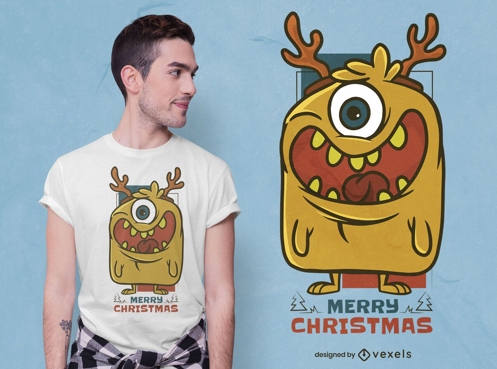 Diseño de camiseta de monstruo navideño