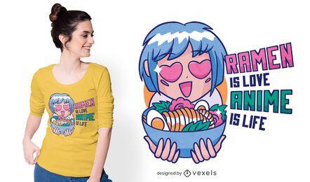 Design de camisetas de ramen e anime