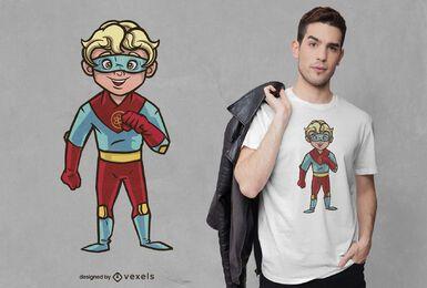 Design de camiseta para menino super-herói