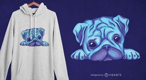 Diseño de camiseta pug acuarela
