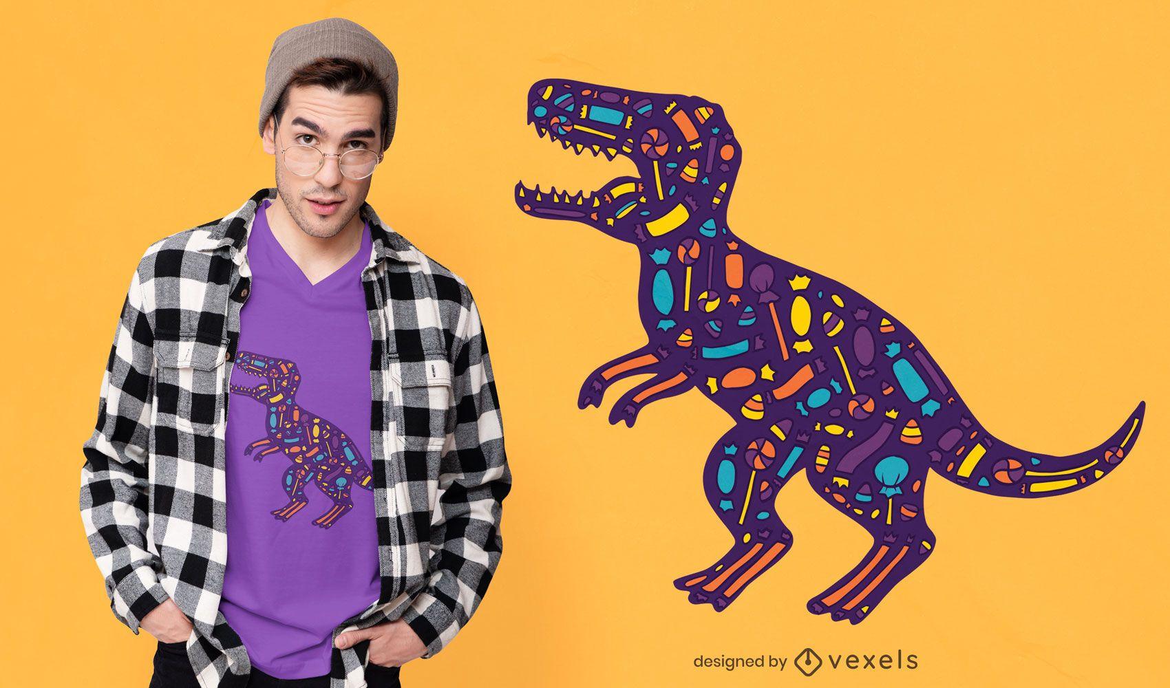 Candy t-rex t-shirt design