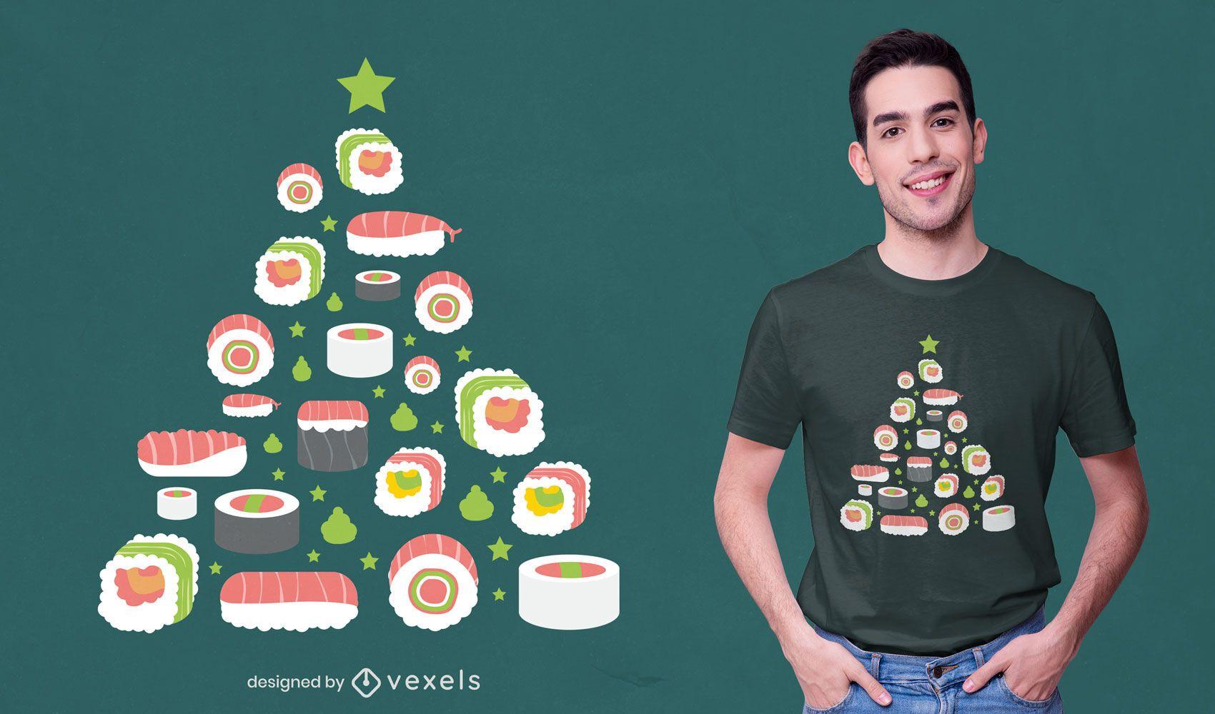Diseño de camiseta de árbol de navidad de sushi.