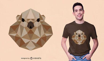 Diseño de camiseta de nutria poligonal.