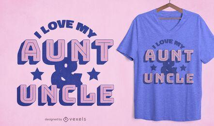 Amo a mi tía y tío diseño de camiseta