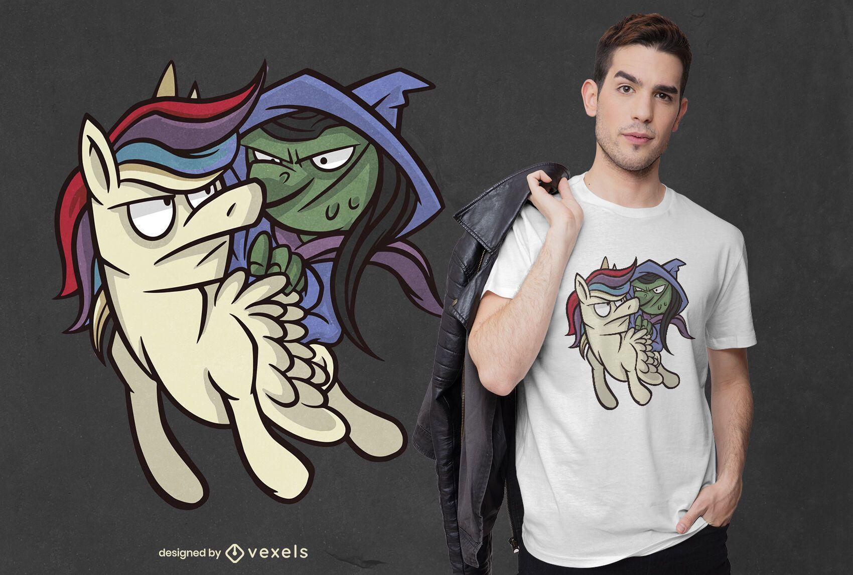 Diseño de camiseta de bruja y unicornio