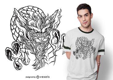 Diseño de camiseta dibujada a mano dragón