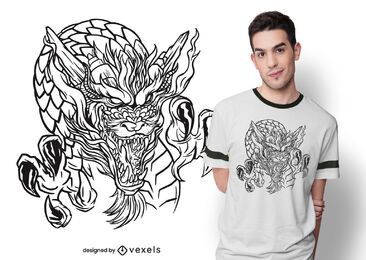 Dragon hand drawn t-shirt design
