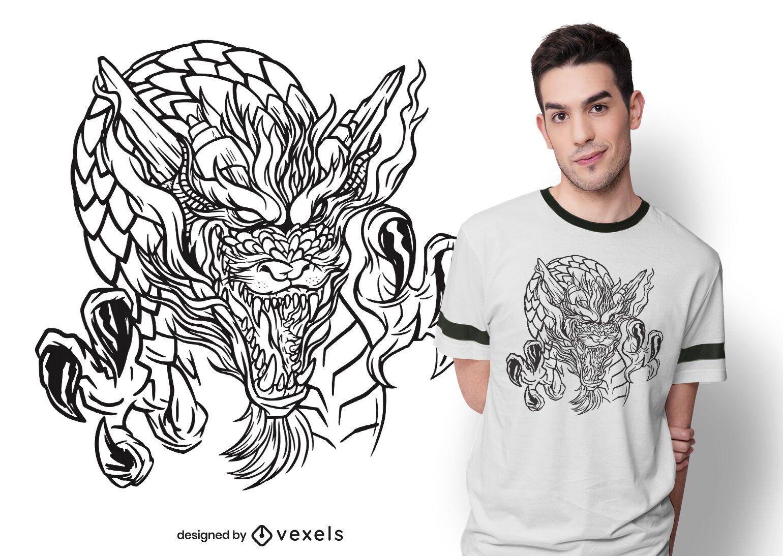 Desenho de camiseta desenhada à mão de dragão