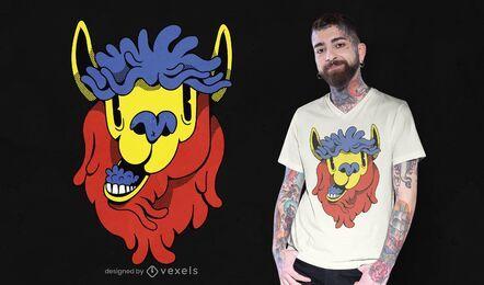 Desenho de t-shirt de lhama de desenho animado colorido