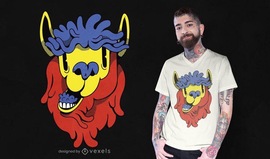 Diseño de camiseta de llama de dibujos animados coloridos