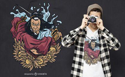 Diseño de camiseta samurai warrior