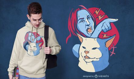 Diseño de camiseta screaming lady meme
