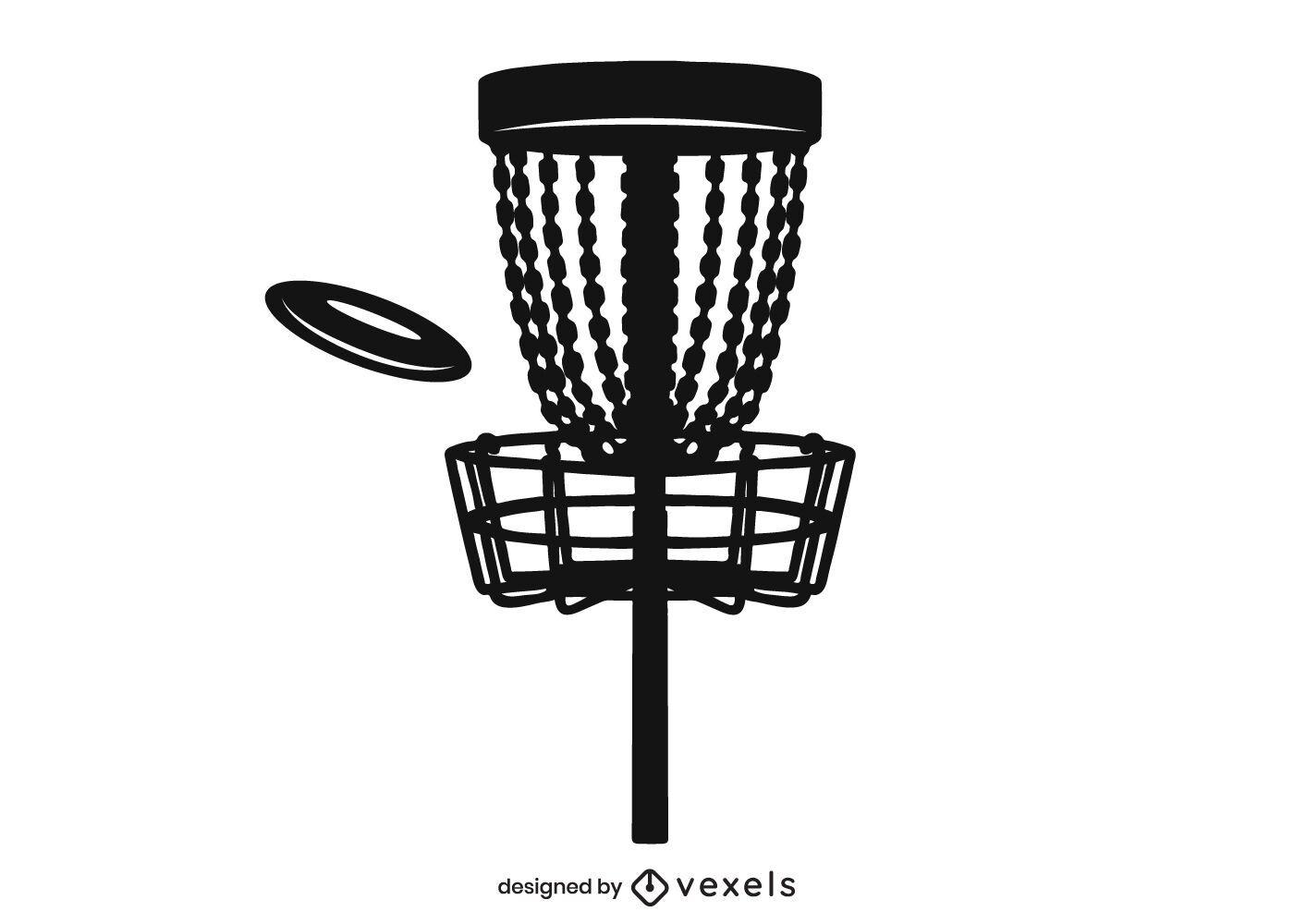 Diseño de silueta de canasta de golf de disco