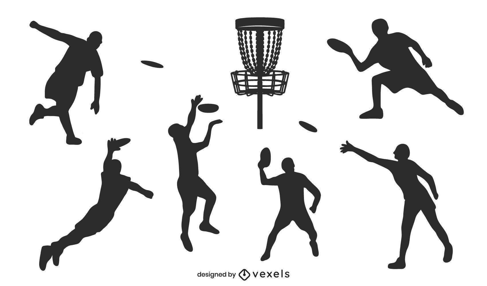 Diseño de silueta de jugadores de golf de disco