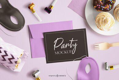 Composição de maquete de cartão de festa
