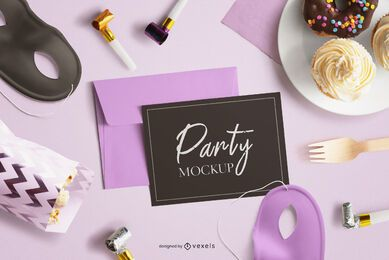 Party card mockup composition