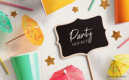 Mini chalkboard party mockup composition