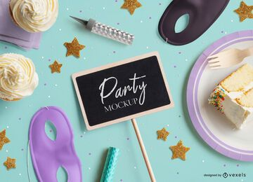 Party chalkboard mockup composition