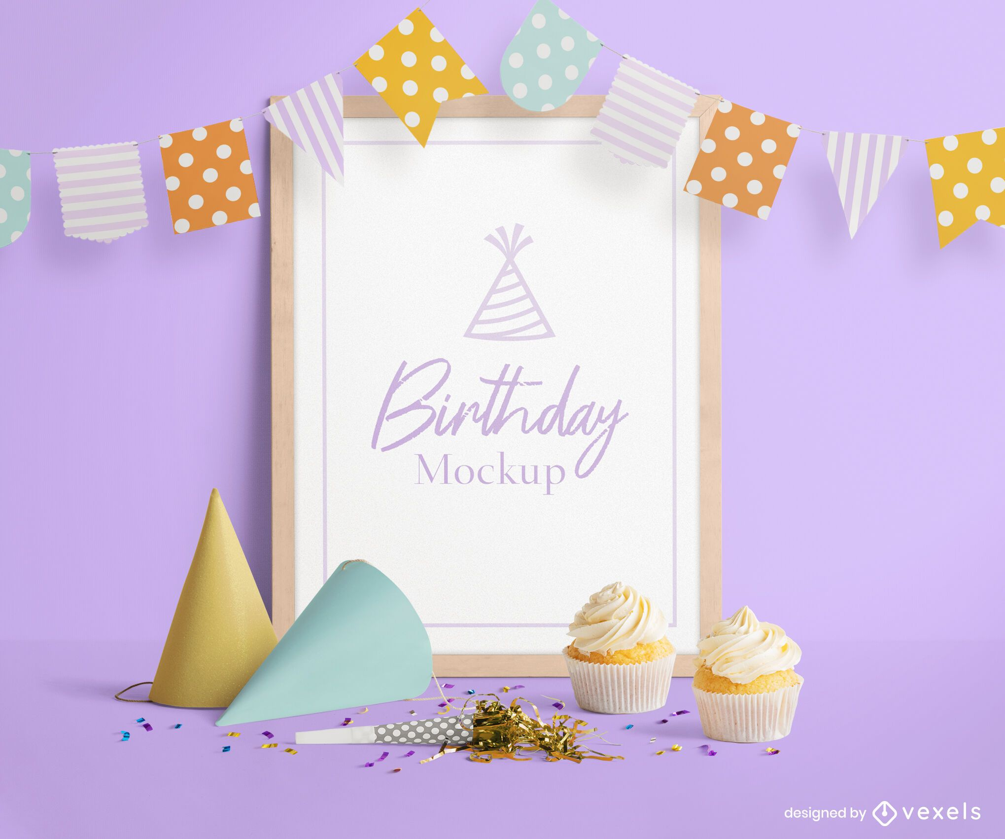 Birthday poster mockup psd composition
