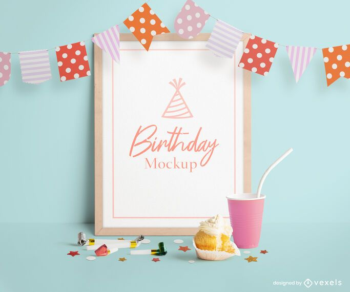 Birthday frame mockup psd composition