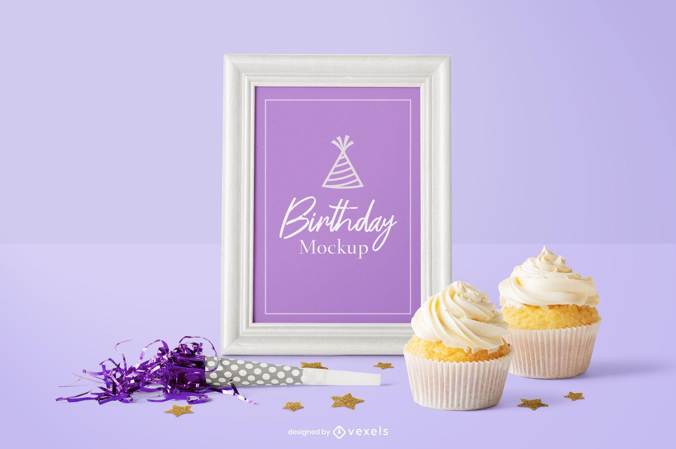 Composición de maqueta psd de marco de cumpleaños
