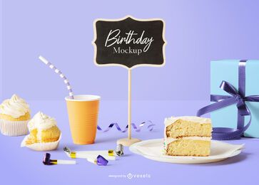 Mini chalkboard birthday mockup composition
