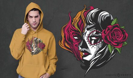 Design de camisetas mexicanas de fogo