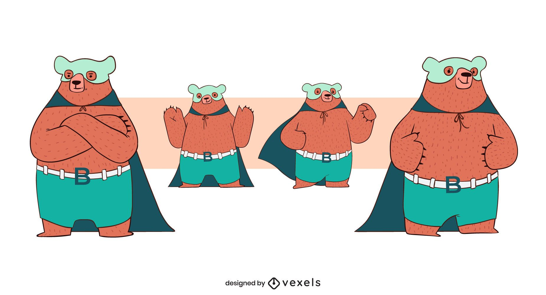 Bear superhero character set
