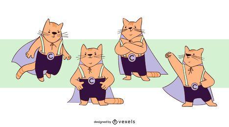 Conjunto de personagens de super-heróis gatos