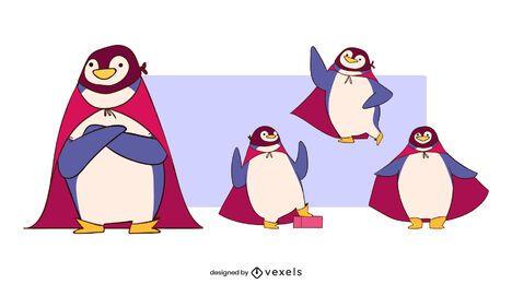 Conjunto de caracteres de superhéroe pingüino
