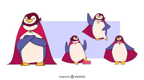 Conjunto de personagens de super-heróis pinguim